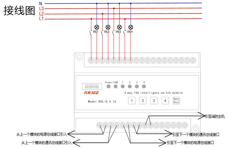 164路智能照明控制模块  接线图: 4路智能照明控制模块 功能实现描述